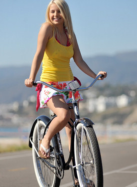 Cycling in skirt, walking in sexy bikini at the beach, dressing in the car