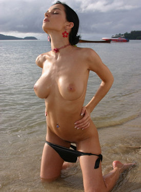 Busty exciting girl in water