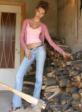 Tall chick in tight blue jeans