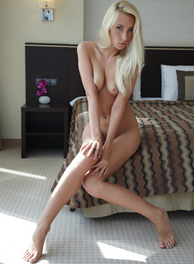 Sweet young blonde with big slut on the bed