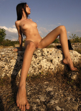 The wild girl posing nude outdoor