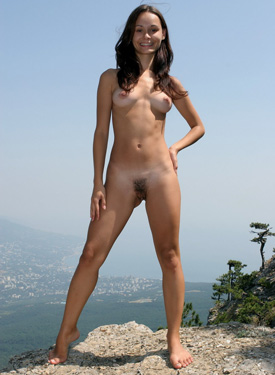 Hairy pussy brunette in the forest