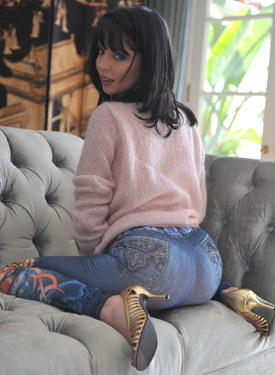 Perfect ass in tight blue jeans, high heels, puffy nipples and hairy pussy