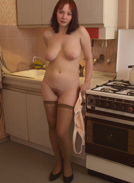 Hairy pussy big boobs girl in the kitchen in stockings