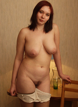 Nude girl posing in stockings hairy pussy can