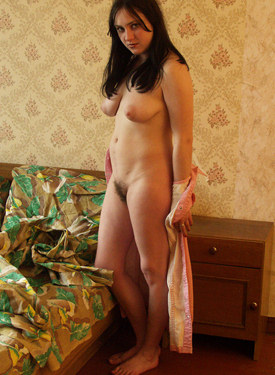 Busty hairy pussy girl at home