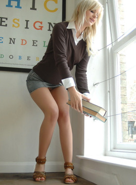 Tight clothes blonde outside