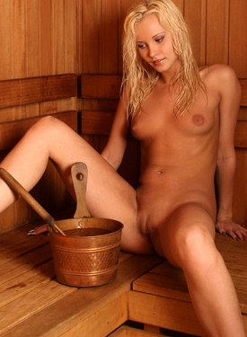 Blonde in the sauna