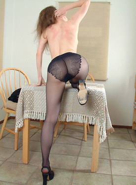 Exciting hairy pussy young beauty in black pantyhose with tasty apple ass is eating the cherries