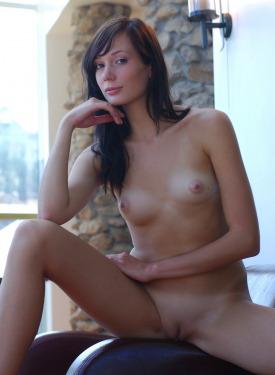 Brunette hottie in sexy green dress