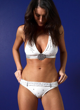 Puffy nipples sexy brunette in white bikini and cameltoe