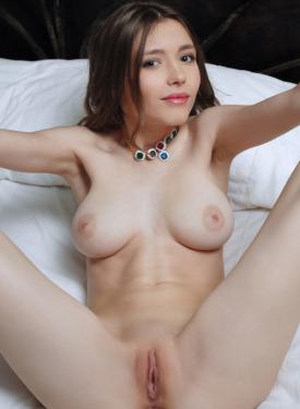 Busty chick wearing sexy blue underwear