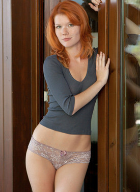 Sweet sexy clothes redhead chick