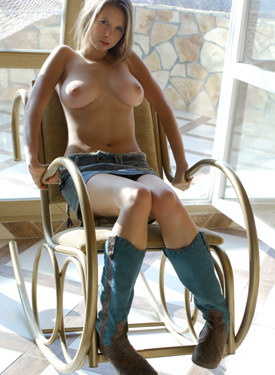 Young big boobs beauty in jeans skirt and nude