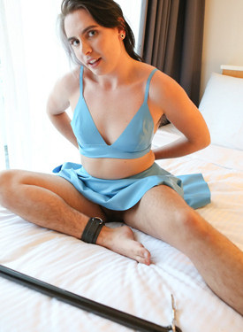 Hairy girl with big clit wearing the blue dress