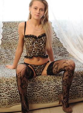 Exciting sexy panter in net nylon stockings