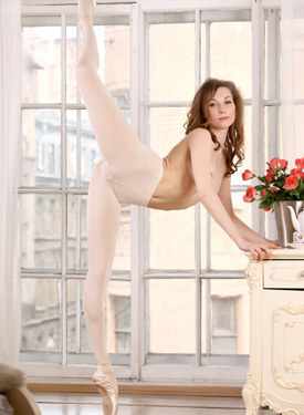 Amazing ballerina in white pantyhose