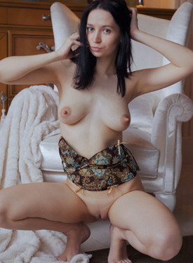 Hot exciting brunette with big erected sexy nipples