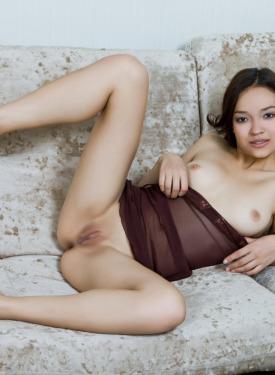 Beautiful nude girl in sexy brown lingerie