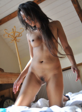 Asian girl in plaid dress showing hairy vagina and puffy nipples