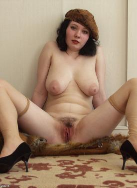 Busty brunette with hairy slut