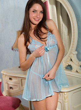 Busty hairy pussy beauty in light blue sexy outfit and panties