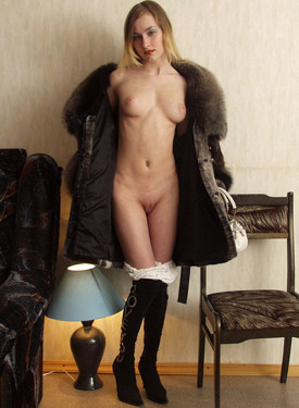 Girl dressed in fur with big vagina