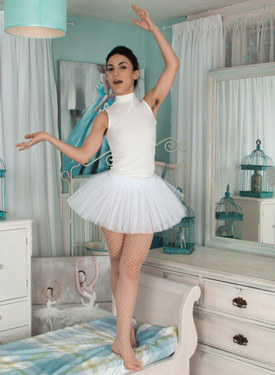 Hairy ballerina in white outfit