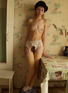 Hairy pussy chick in long dress