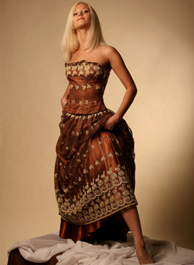 Hot blonde in long dress