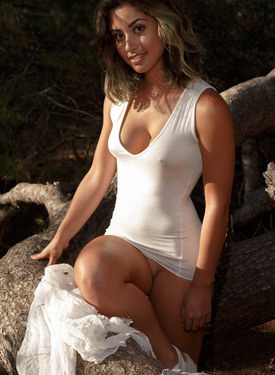 Hot brunette in the forest