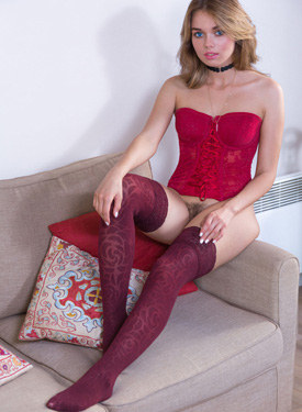 Hot sexy nude busty teaser in red corset and stockings has hairy pussy