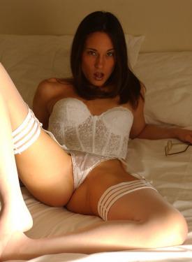 Sexy hottie in white lingerie and white underwear