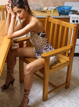 Sexy teen in the kitchen