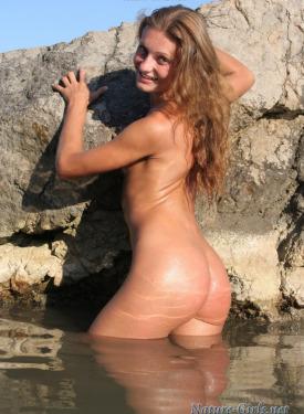 Teen nudist on the big stone