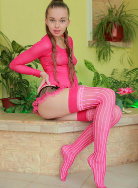 Tight hairy pussy young beauty in pink nylon