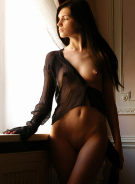 Young puffy nipples sexy brunette in see-through lingerie is hungry for sex